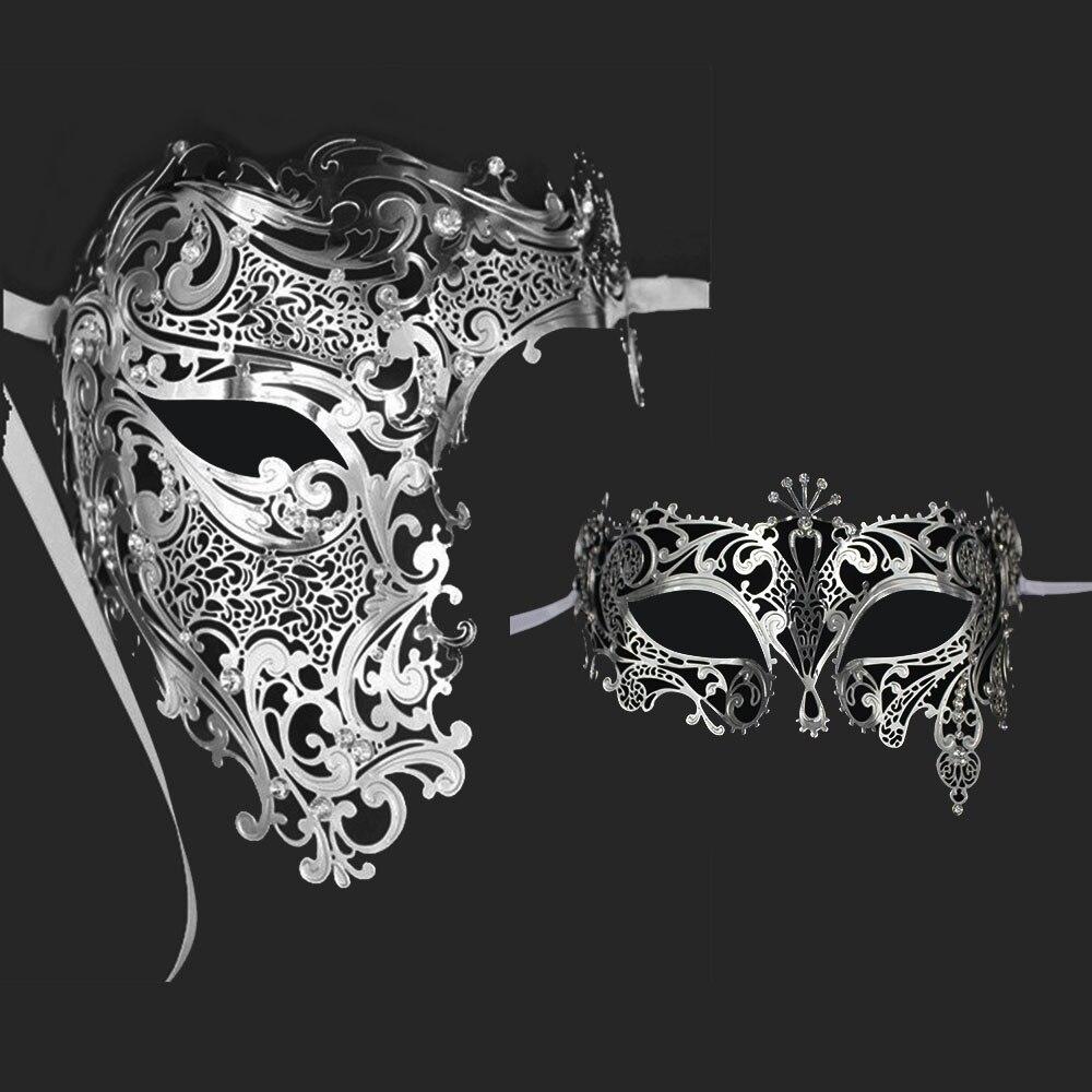 silver half face skull metal couple prom venetian masquerade mask set men women rhinestone phantom ball