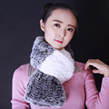 Fashion patchwork real rex rabbit fur women scarf 2 colors long style soft warm ladies girls winter scarves for lover friends