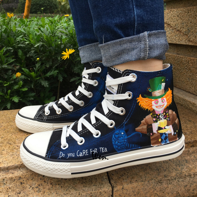 Wen Hand Painted Canvas Sneakers Fairy Tale Characters Mad Hatter Cheshire  Cat Design Custom High Top Skateboard Shoes Gifts 4b5dd3889f03