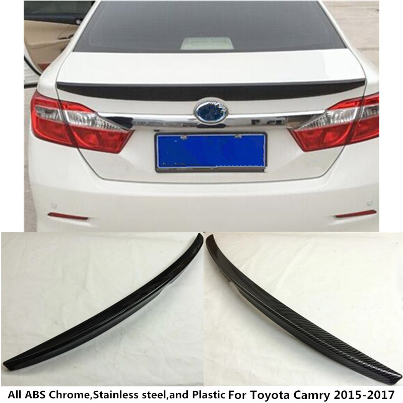 Hot sale car styling ABS chrome/Carbon fiber Rear door Wing tail Spoiler frame plate trim 1pcs For Toyota Camry 2015 2016 2017 high quality car styling cover detector abs chromium tail back rear license frame plate trim strips 1pcs for su6aru outback 2015