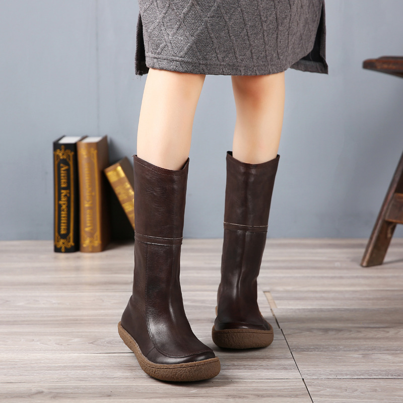 Casual and Comfortable Keep Warm Cotton Boots Winter 2016 Thick Heels Genuine Leather Shoes Handmade Slip Women Boots 666-01
