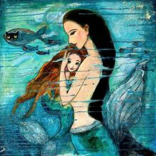 1 panel two mermaid classic oil painting canvas printing wall art template decorative framed XJZFX-16