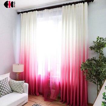 Cortinas con degradado de gasa de algodón y poliéster de colores arcoíris, cortinas francesas personalizadas para dormitorio o boda WP185C