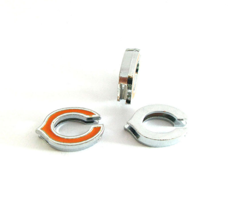 Football Slide Charms 8mm Enamel American Football Team Chicago Bears Slide Charms Fit DIY Necklace & Bracelet 20Pcs ...
