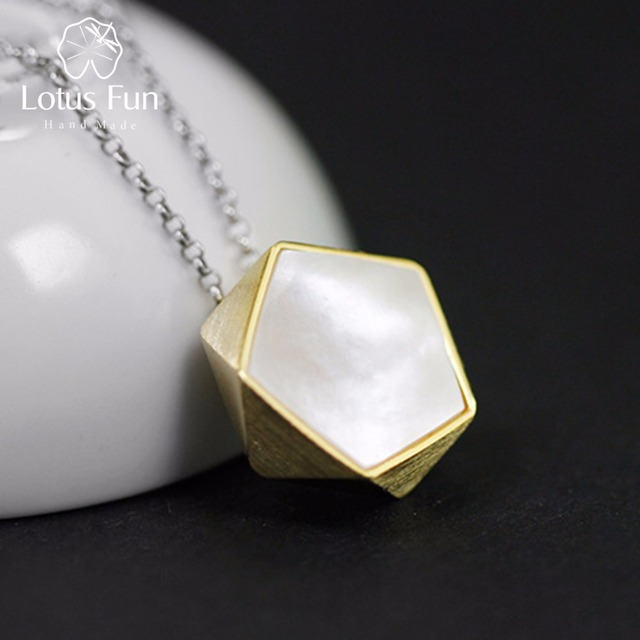 Lotus Fun Real 925 Sterling Silver North European Style Geometric Angles Design Fine Jewelry Pendant without Necklace for Women