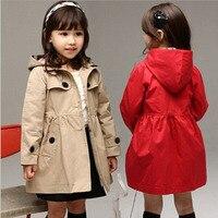 2015 Brand New Girls Wind Coat Cardigan Jackets Trench European Style Children Autumn Winter Wind Coat
