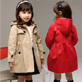 2016 Brand New Girls Wind Coat Kids Cardigan Jackets Trench European Style Children Autumn Spring Wind Coat Girls Outwear, C062