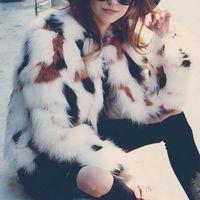 2017 Autumn Women Fur Elegant Jacket Female Winter Long Sleeve O-Neck Loose Fashion Open Stitch Coat
