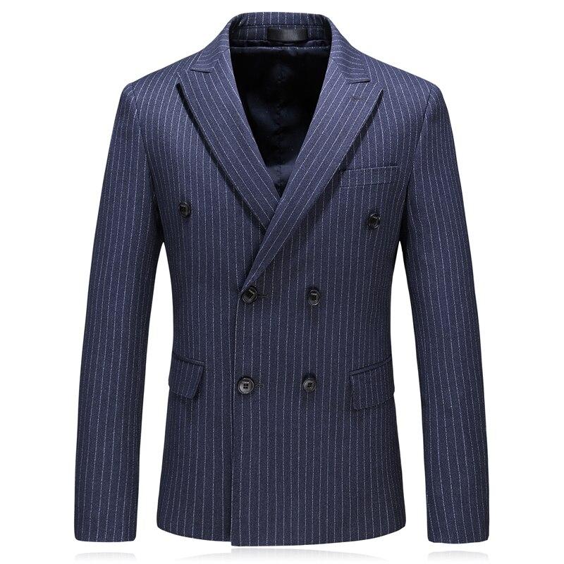 Dubbele Breated Blazer Mannen 2019 Lente Herfst Slim Fit Heren Gestreepte Plaid Blazer Jasje mannen Smart Casual Blazers Navy blauw Q212-in Blazers van Mannenkleding op  Groep 3