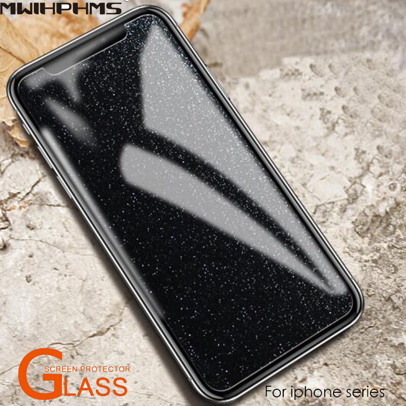 Mwihphms 2PC diamond Bling glass For iphone7plus 7 8 8plus 6 6s 6plus 6splus screen protector front tempered glass for iphone x