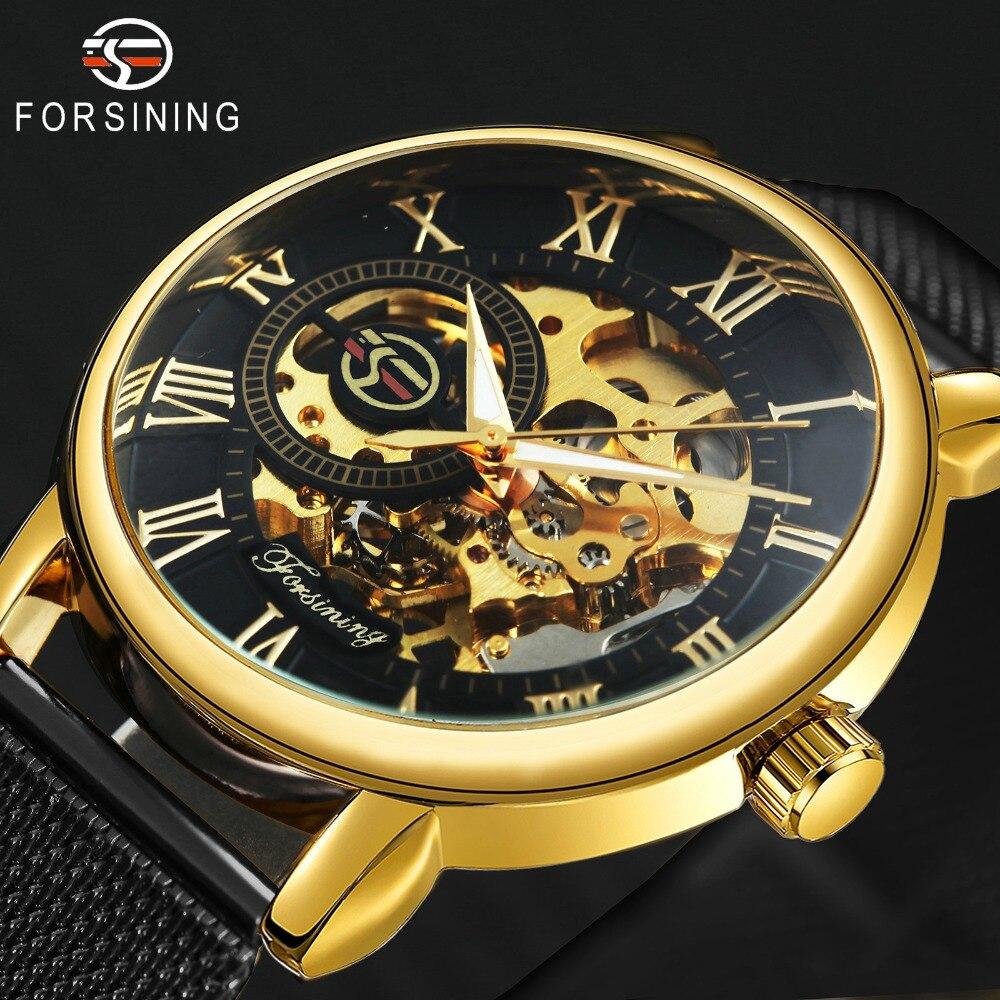 FORSINING Herren Uhren Top Brand Luxus Mechanische Skeleton Zifferblatt ULTRA DÜNNE Mesh-Armband Unisex Fashion GEWINNER Armbanduhr für Mann