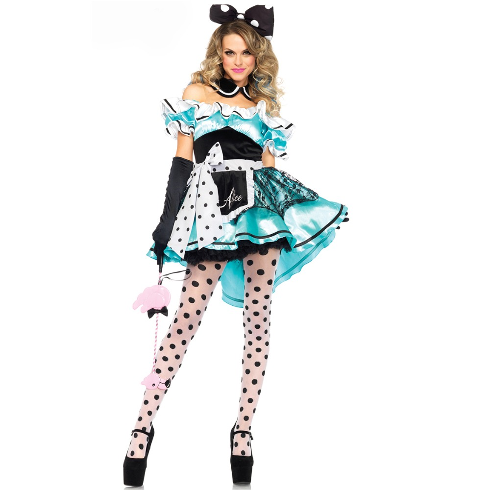 UTMEON Hot Sale Alice in Wonderland Costume Cosplay Fantasia Carnival Halloween Costumes for Women Fancy Lace Panty Dress