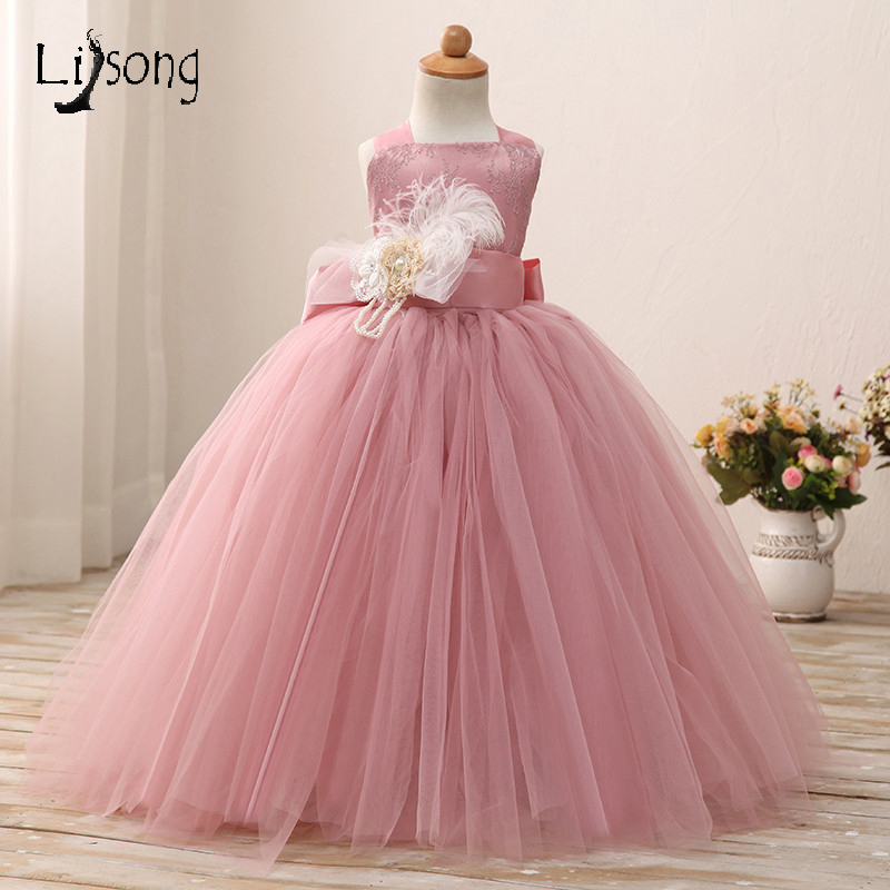 Poussiéreux Rose Fleur Fille Robe Robes De Bal de Longueur de Plancher Souple Tulle Fille Tutu Robes pour la Fête De Mariage D'anniversaire Petit Bébé robes