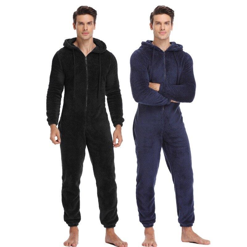 7394692cee Mężczyźni ciepłe pluszowe polar Onesie puszyste salon snu dorosłych  bielizna nocna jeden kawałek piżamy męskie kombinezony
