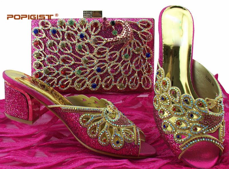 Femmes silver purple Sac royal Assorti Ensemble Africain Fuchsia Blue Mariage Chaussures Avec Nigérian De Italiennes Nouvelle fuchsia Couleur gold Black Arrivée Et IY6m7bfvgy