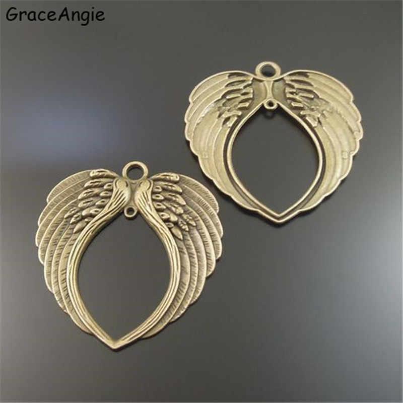 GraceAngie 3 sztuk Angel Wings Style Bransoletka Naszyjnik Wisiorek Antique Bronze Stop cynkowy Naszyjnik Biżuteria Rękodzieło Ustalenia