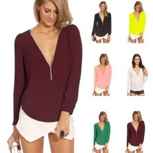 women shirts Womens spring and summer V-neck long-sleeved zipper chiffon shirt womens blouse  tops