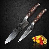 SUNNECKO Damascus Steel Blade Kitchen Knife Set 8 Chef 5 Utility Razor Sharp Knife Pakka Wood Handle Chef Cook Cutter Knives