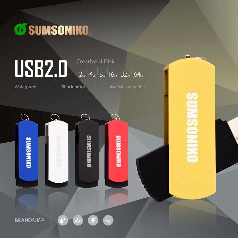 SUMSONIKO USB Flash Drive Swivel Clip Pen Drive High Speed 5 Colors USB 2 0 Flash