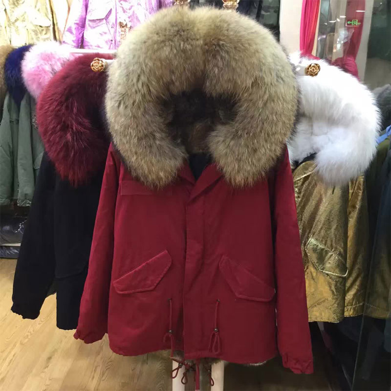 Red Outside Shell Jacket Natural Fur Short Jacket Raccoon Fur Parka Coat