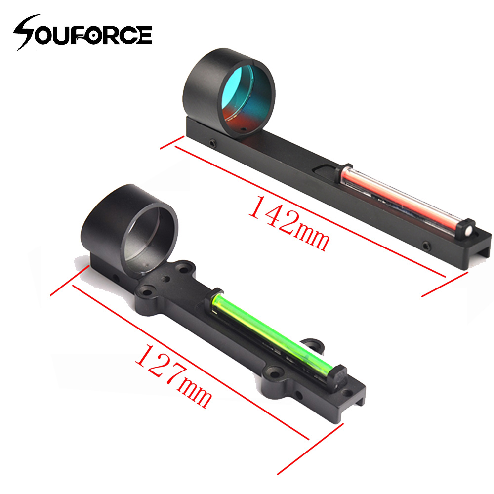 Red+Green Tactical Fiber Red Green Dot Sight Scope Holographic Sight Fit Shotgun Rib Rail Hunting Shooting