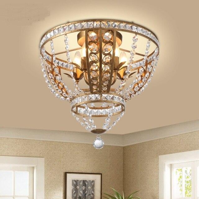 Amerikanischen Stil Kristall Deckenleuchte Schlafzimmer Wohnzimmer Esszimmer  Schmiedeeisen Rundminimalistische Europäischen Stil Flur Lampen ZA71012