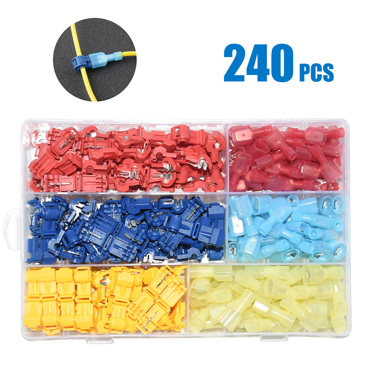 240pcs T Tap Wire Connectors, Self Stripping Quick Splice Electrical Wire Terminals, Insulated Quick Disconnect Spade Terminals-in Connectors from Lights & Lighting