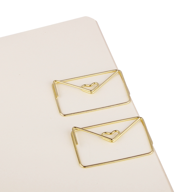 Gold Love Heart In Letter Envelope Creative Design Gift Paper Clip Shape Office Accessories Metal Paper Clips Gold Paper Clips