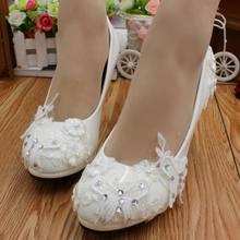 White lace crystal wedding shoes woman HS062 female round toes platforms  high heeled butterfly romantic bridal pumps dress shoes a8bdaa2e3dd0