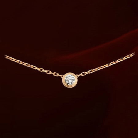 Fashion Simple Stainless Steel Titanium Steel Rose Gold Color Single Cubic Zirconia Pendant Round Stone Necklace Women Jewelry