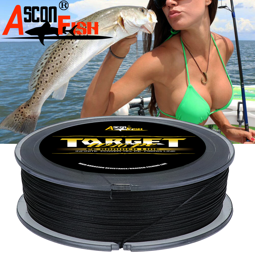 Ascon Fish Multifilament Fishing Line 16 Strands Braided Fishing Line 500m 16 braids PE Fiber Woven Rope Tippet 20-500LB