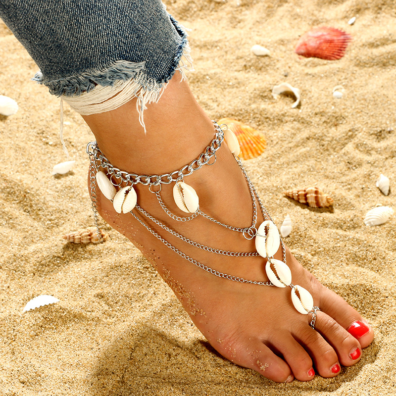 New Boho Multilayer Shell Beads Anklets For Women Moon Sun Vintage Beach Rope Ankle Bracelet on Leg Summer Foot Jewelry 2