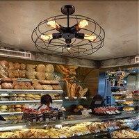 אור הנורה אדיסון רטרו מאוורר שחור מתכת לופט בר קפה מנורת תקרת חדר אוכל אור דקור משלוח חינם