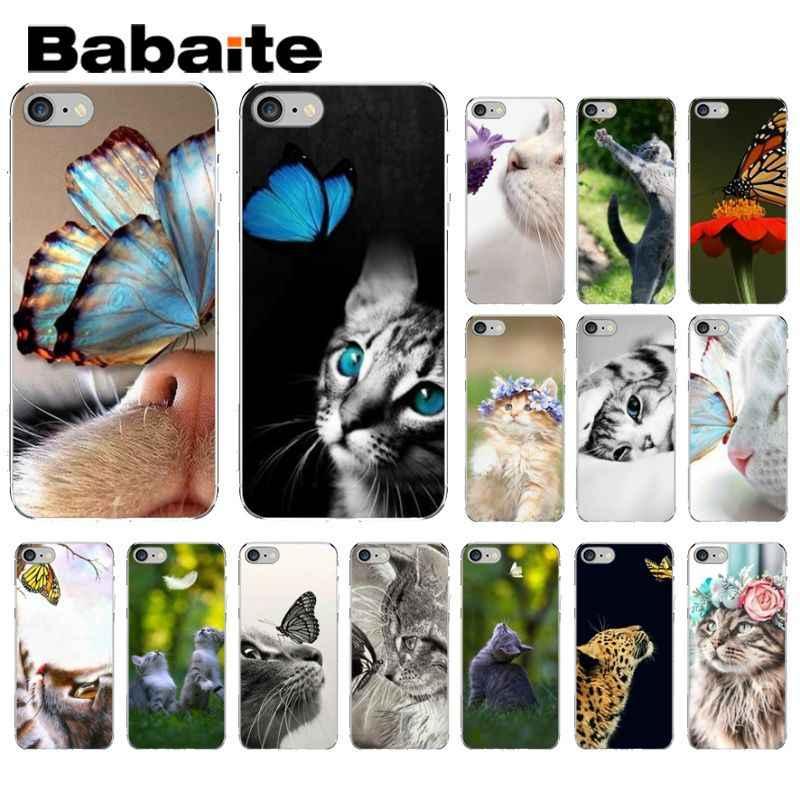 Babaite Borboleta Ficar No Gato Nariz Soft Shell Tampa Do Telefone Móvel para o iPhone Da Apple 8 7 6 6 S mais X XS MAX 5 5S SE XR Tampa