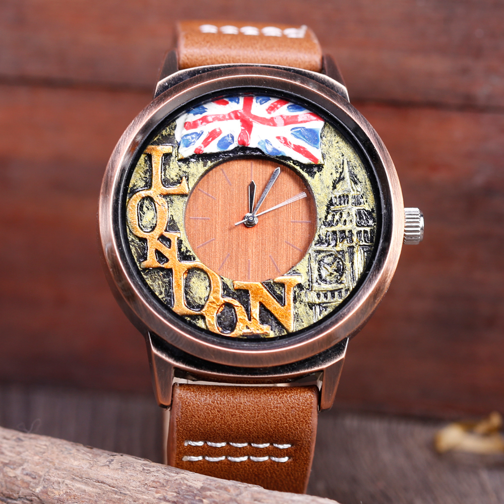 New Fashion Unqiue Metal Painting Watch For Male LONDON Big Ben Metal Sculpture Cool Creative Big Dial Quartz Mens Wristwatches