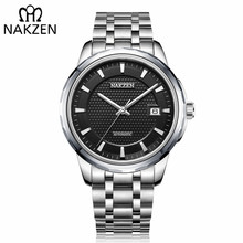 лучшая цена NAKZEN Men Automatic Japan NH35 Mechanical Movement Watch Mens Business Date Wristwatch Brand Luxury Clock Relogio Masculino