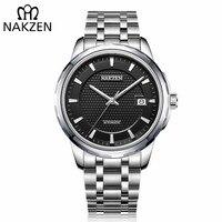 NAKZEN Men Automatic Japan NH35 Mechanical Movement Watch Mens Business Date Wristwatch Brand Luxury Clock Relogio Masculino