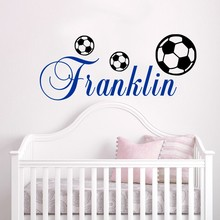 Vinyl Art  Home Decoration Customized Name Footballer Wall Stickers for Kids Room Soccer Ball Boys Poster Mural Decor W69