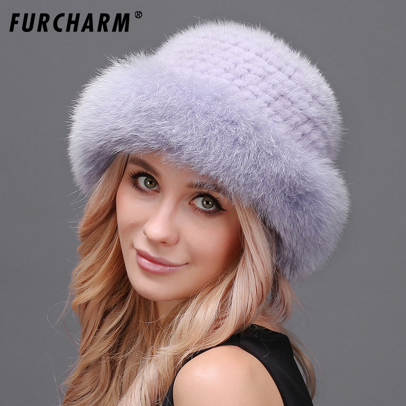 Natural Mink Fur Fedoras Hat for Women Good Quality Mink Fur Knit Hat with Fluffy Fox Fur Brim Thick Warm Fur Hat Female Winter new style winter hat real female mink fur hat for women knitted mink fox fur cap female ear warm hat cap silver fox part less