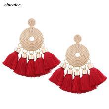 Xiacaier Red Tassel Earrings For Women Handmade Big Statement Earrings Bohemia Style Ear Jewelry Long Drop Earring Ethnic Brinco