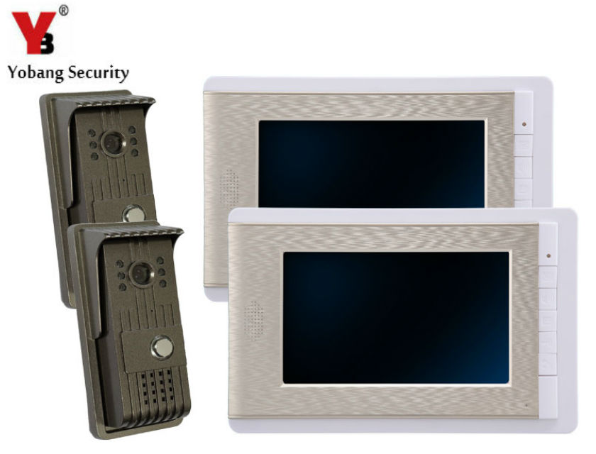 YobangSecurity 7 Inch Video Door Phone Doorbell Video Entry System Intercom Home Security Kit 2 camera 2 monitor Night Vision yobangsecurity 7 inch tft lcd home security video door phone doorbell entry intercom kit 1 ir camera with night vision 1 monitor