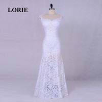 LORIE Mermaid Lace Wedding Dress Long Vintage Bride Dress O Neck Custom Made Real Wedding Gown Free Shipping Party Dress 2017
