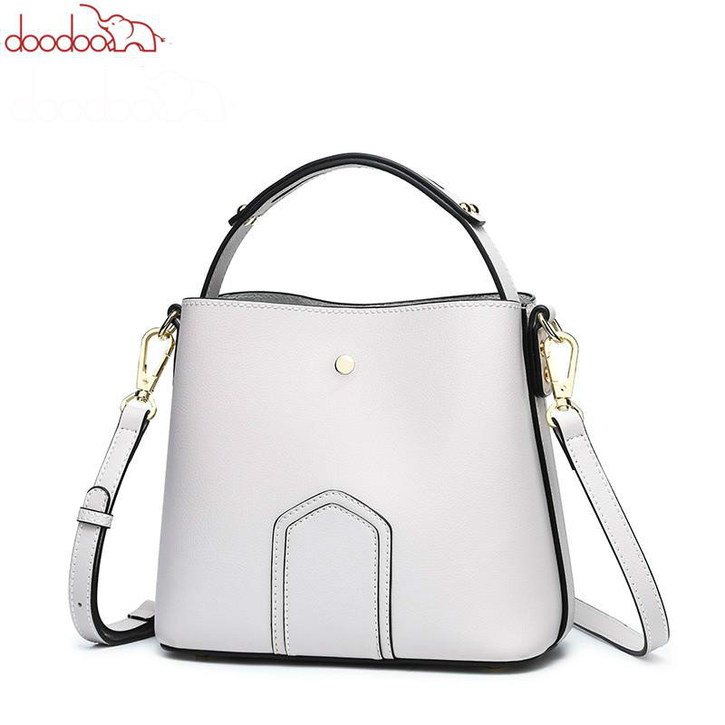 DOODOO Fashion Women Handbag Tote Bucket Bag Female Shoulder Crossbody Bags Ladies Pu Leather Spell Color Top-handle Bag Bolsa