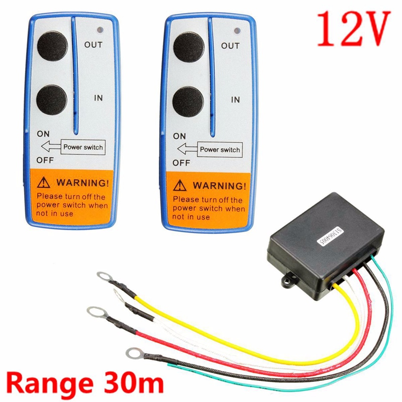 KROAK 12V 100 Feet Universal Car Wireless Winch Crane Remote Control Controller With Twin Handset Two Matched Transmitters