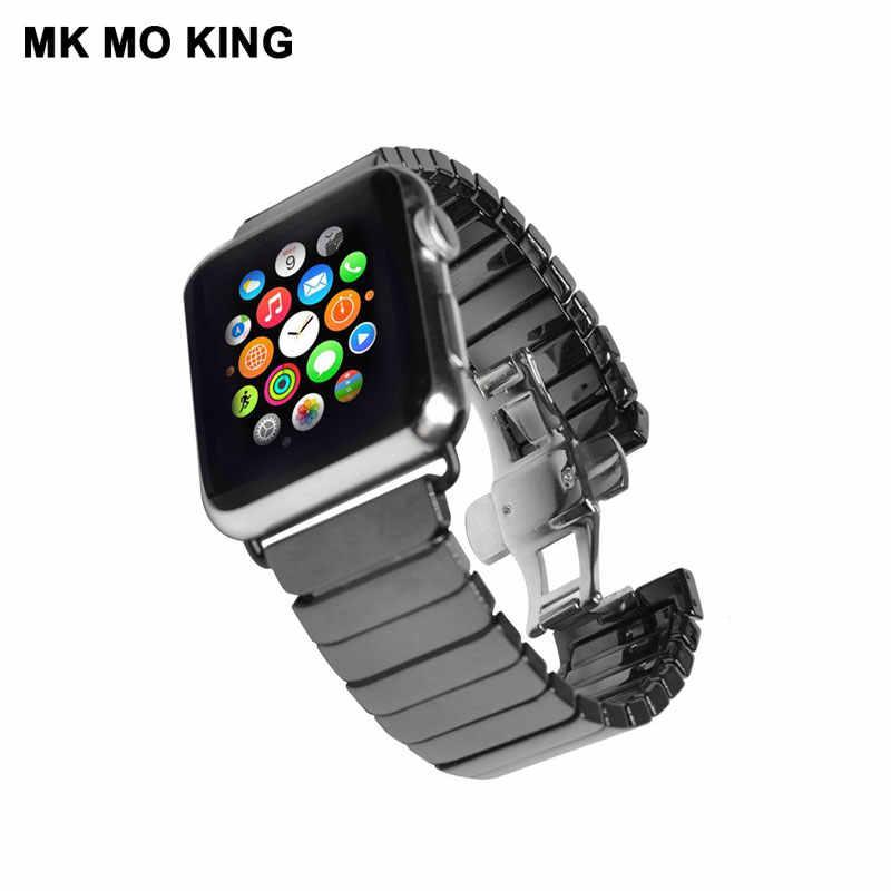セラミックステンレス鋼チェーンストラップため apple iphone 役割メンズ × 女性の時計バンド iwatch 4 38 42 44 ミリメートルスマートブレスレット