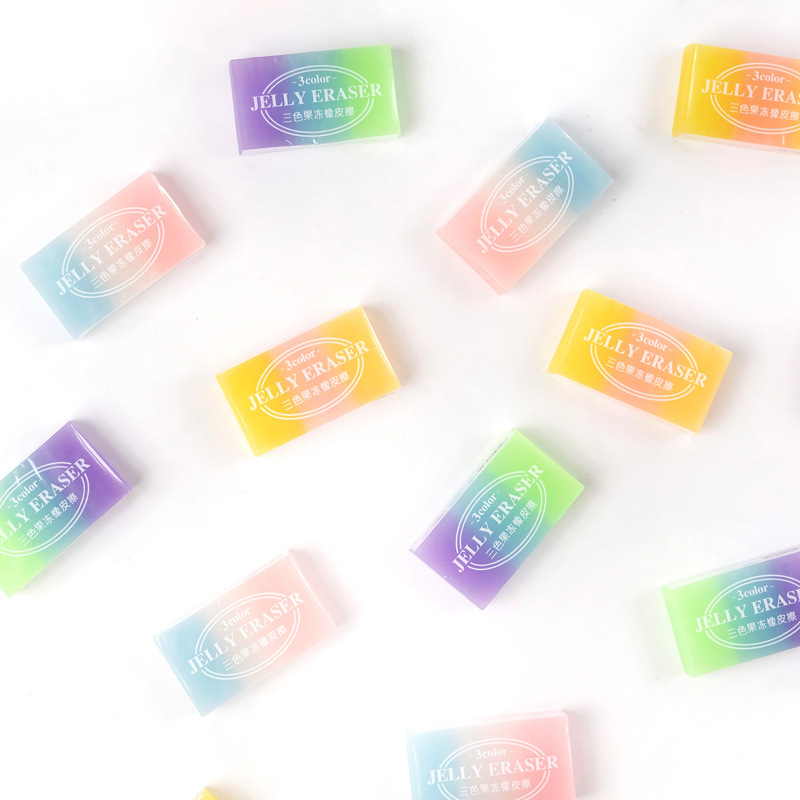 2pcs /lot Creative Colorful Jelly Design Rubber Eraser School Office Supply Student Stationery Kids Gift