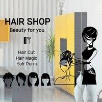 Hair Shop Wall Decal Sexy Girl Hair Salon Barbershop Hair Cut Lettering Sign Wall Sticker Hair Shop Decoration Room Wall Decal