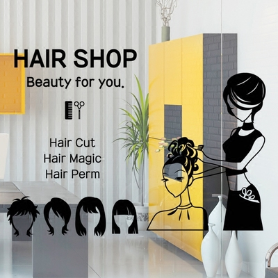 Salon de coiffure Sticker mural fille Sexy Salon de coiffure Salon de coiffure coupe de cheveux lettrage signe autocollant mural Salon de coiffure décoration chambre Sticker mural