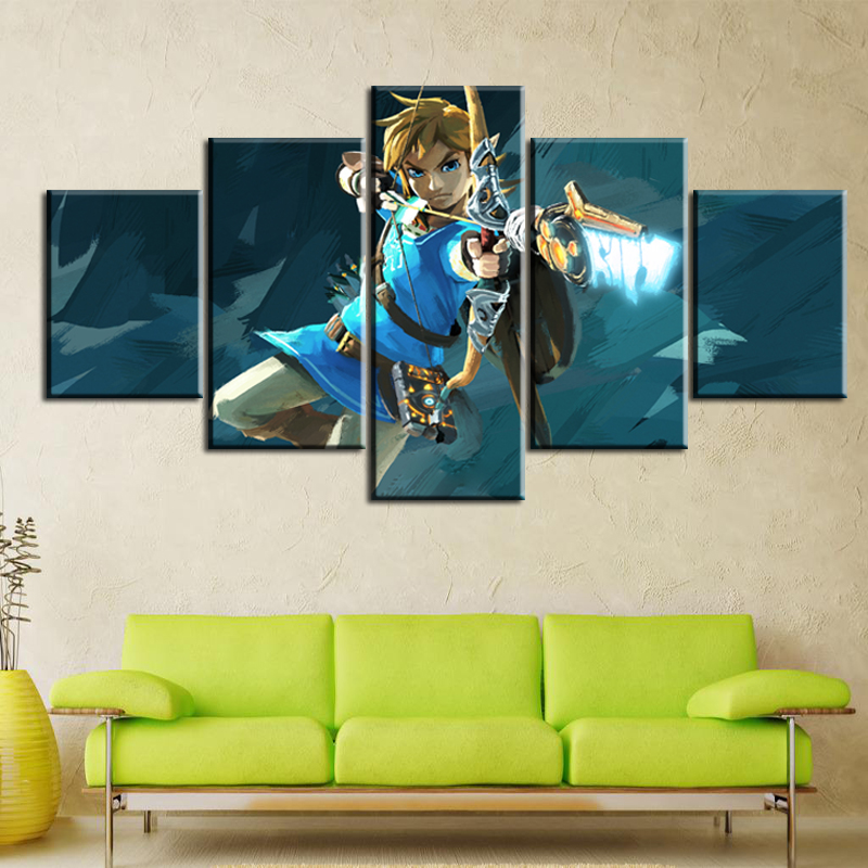 Legend Of Zelda Wall Art.Us 6 88 49 Off 5 Panel Game The Legend Of Zelda Breath Of The Wild Home Decor Wall Art Canvas Printed Painting Pictures Modern Artwork Poster In