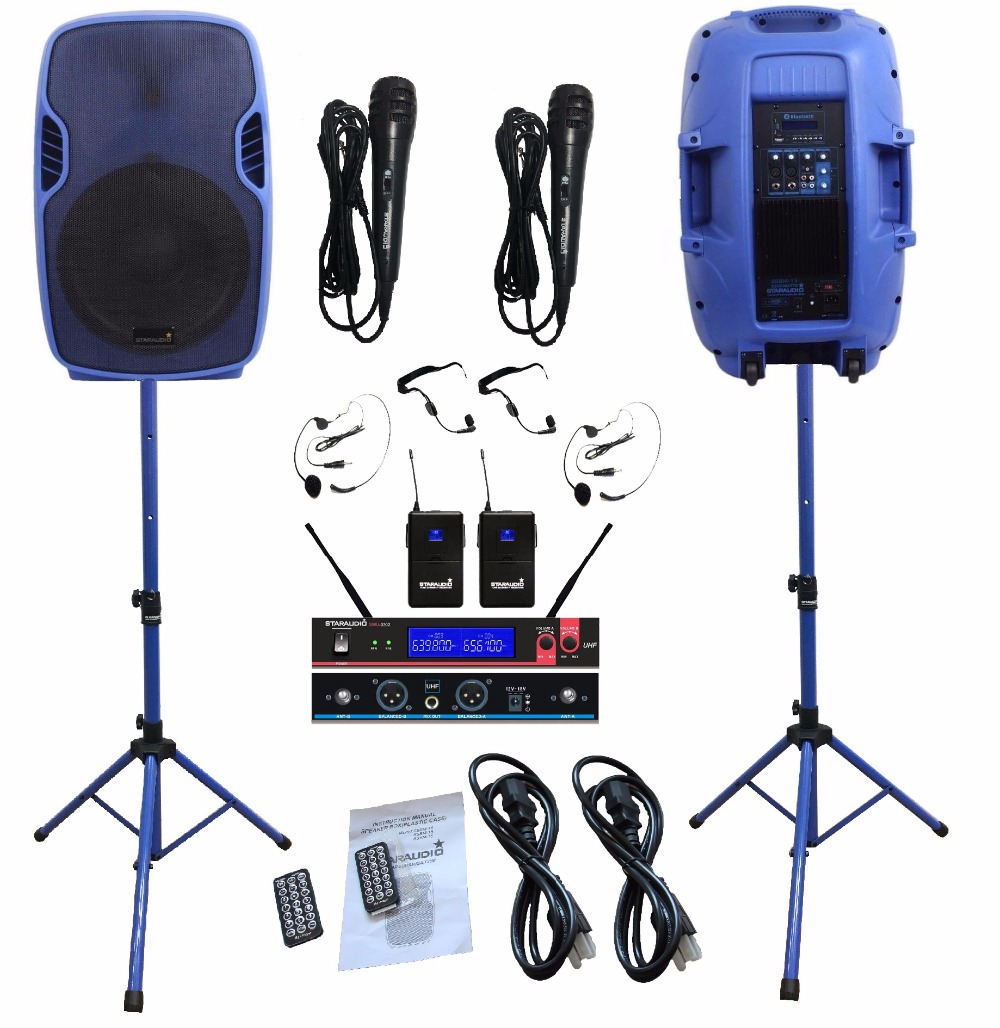 2Pcs STARAUDIO Blue 3500W 15PA Powered Active DJ BT USB SD Speakers W/2CH UHF Wireless Mics Stands Wired Microphones SSBM-15